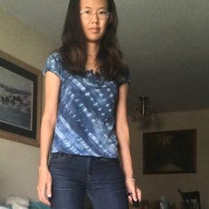 LRL xs blue tie dye short/puff sleeve blouse